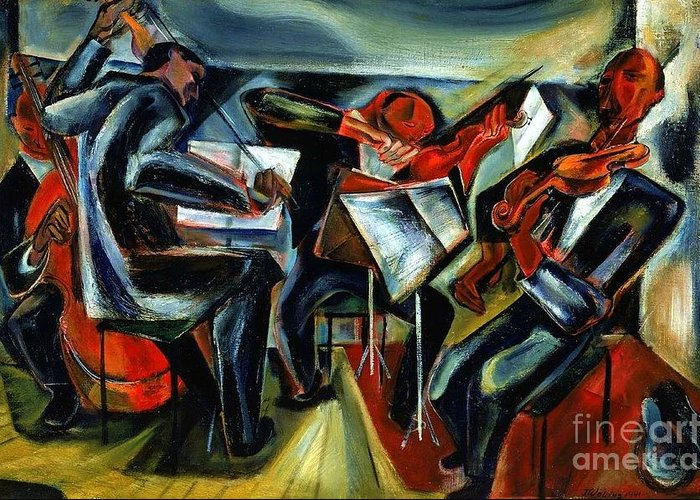 Pd Greeting Card featuring the painting The Budapest String Quartet by Pg Reproductions