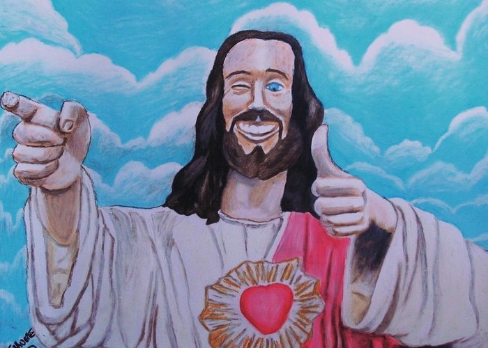 Jesus Christ Buddy Religion Catholiscism Savior God Spiritual Humor Dogma Kevin Smith Jay Silent Bob Funny Comedy Clouds Sky Thumb Greeting Card featuring the pastel The Buddy Christ by Jeremy Moore