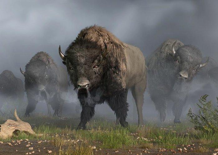 Bison Greeting Card featuring the digital art The Buffalo Vanguard by Daniel Eskridge