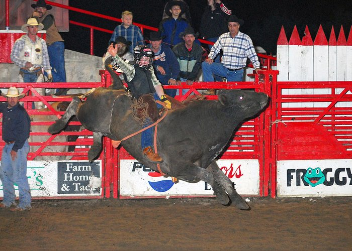 Rodeo Greeting Card featuring the photograph The Bull Rider by Larry Van Valkenburgh