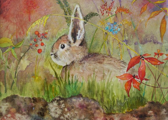 Nature Greeting Card featuring the painting The Bunny by Mary Ellen Mueller Legault