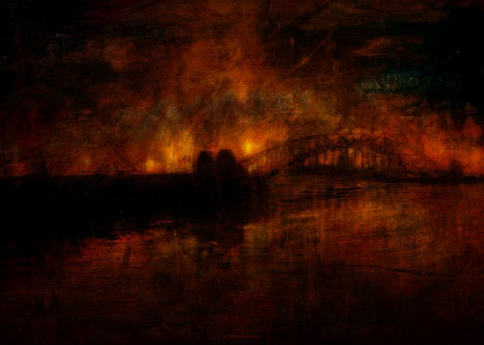 William Greeting Card featuring the digital art The Burning Of Sydney by Kim Gauge