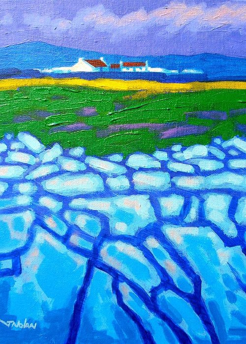 Irish Landscape Greeting Card featuring the painting The Burren County Clare Ireland by John Nolan