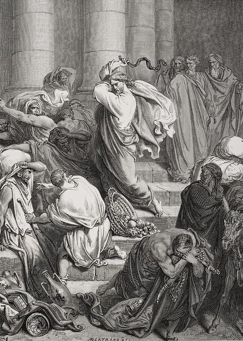 Jesus Greeting Card featuring the painting The Buyers And Sellers Driven Out Of The Temple by Gustave Dore