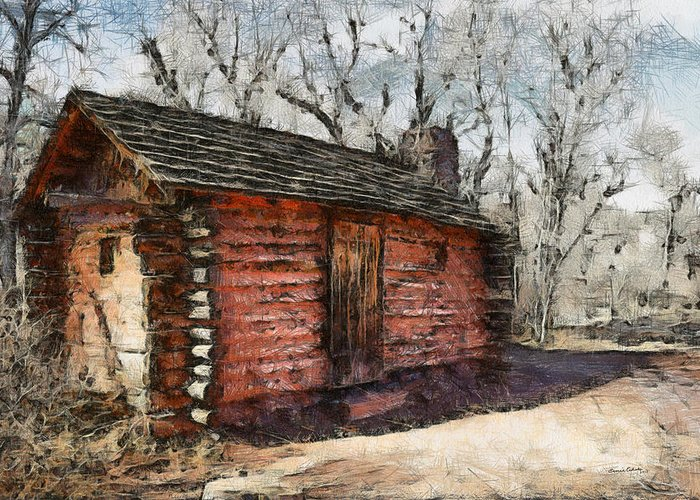Cabin Greeting Card featuring the digital art The Cabin by Ernie Echols