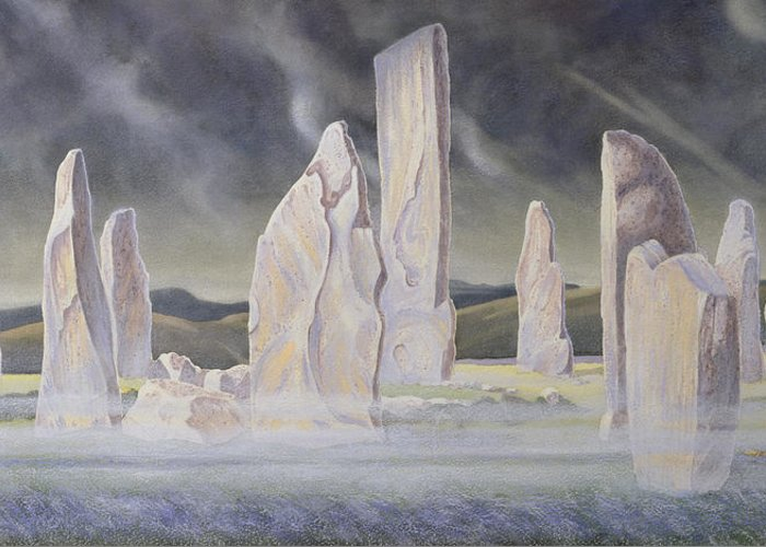 Landscape; Standing Stone; Circle; Neolithic Monument; Ancient; Outer Hebrides; Mist; Night; Moonlight; Ghostly; Celtic Greeting Card featuring the painting The Callanish Legend Isle Of Lewis by Evangeline Dickson