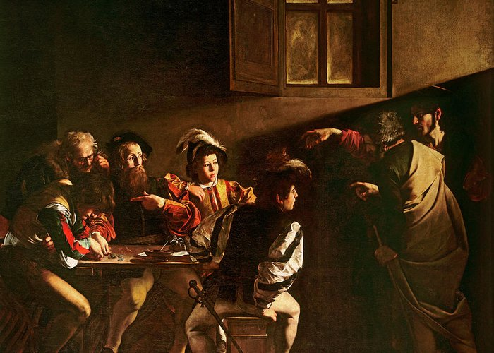 Chiaroscuro Greeting Card featuring the painting The Calling Of St Matthew by Michelangelo Merisi o Amerighi da Caravaggio