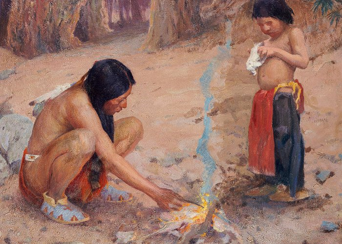 Indian Greeting Card featuring the painting The Campfire by EI Couse