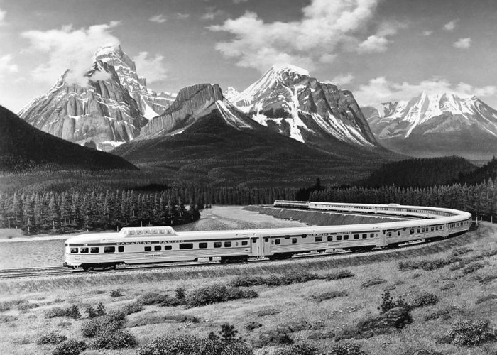 1950's Greeting Card featuring the photograph The Canadian Train by Underwood Archives