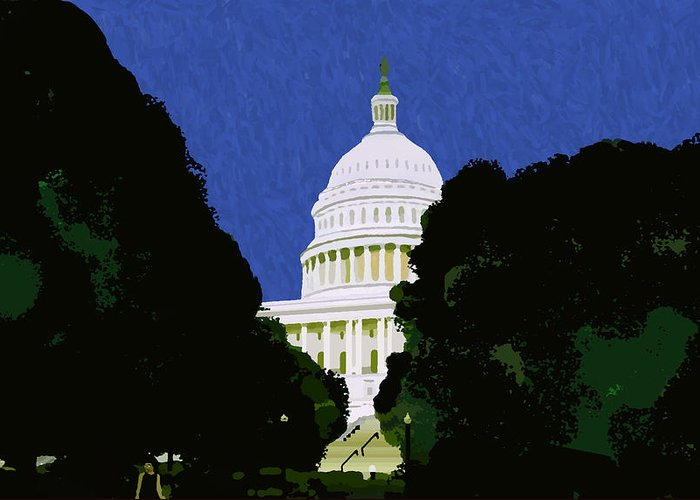 Capitol Greeting Card featuring the painting The Capitol by Pharris Art