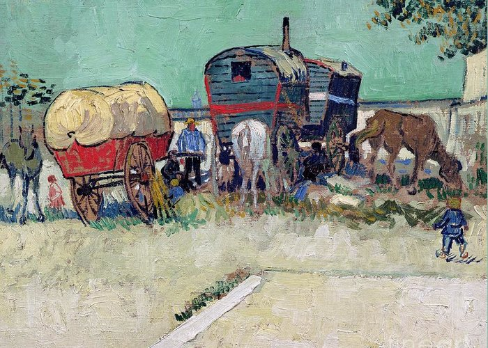 Post-impressionist Greeting Card featuring the painting The Caravans  Gypsy Encampment Near Arles by Vincent Van Gogh