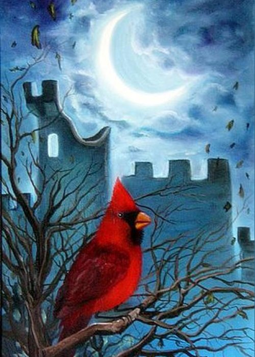 Cardinal Greeting Card featuring the painting The Cardinal by Lora Duguay