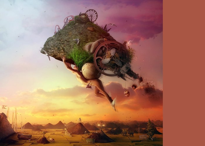 Flying Greeting Card featuring the digital art The Carnival Is Over by Mario Sanchez Nevado