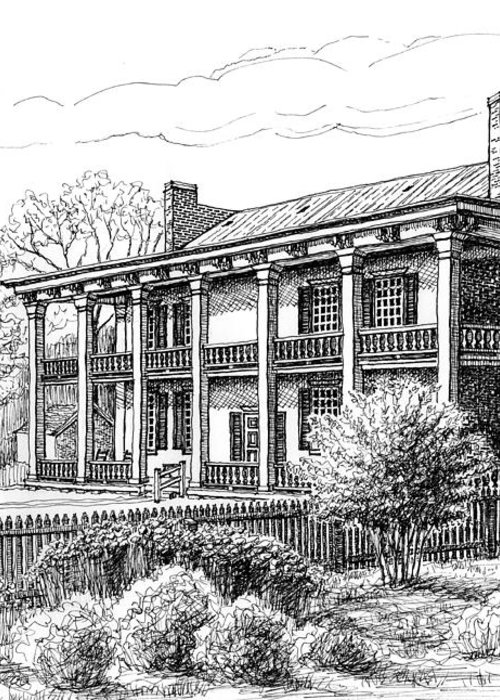 Carnton Plantation Greeting Card featuring the drawing The Carnton Plantation In Franklin Tennessee by Janet King