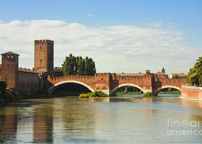 Red Greeting Card featuring the photograph The Castelvecchio Bridge In Verona by Kiril Stanchev