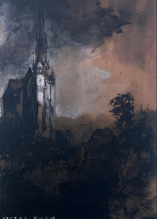 Victor Hugo Greeting Card featuring the painting The Castle In The Moonlight by Victor Hugo