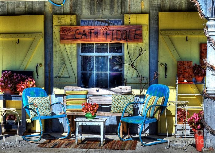Metamora Indiana Greeting Card featuring the photograph The Cat And The Fiddle by Mel Steinhauer