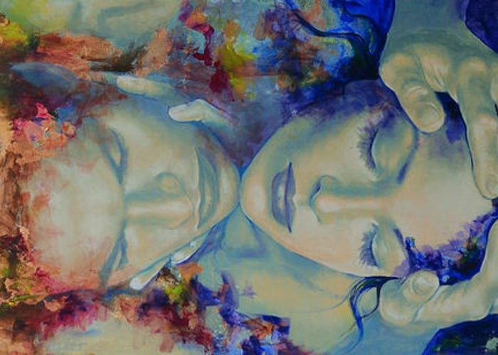 Love Greeting Card featuring the painting The Celestial Consonance by Dorina Costras