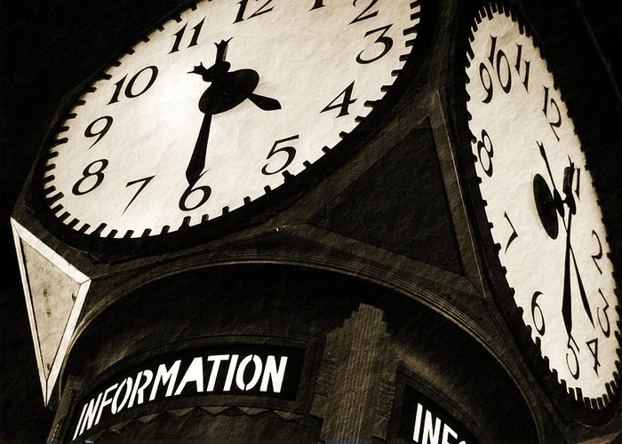 Clock Greeting Card featuring the photograph The Central Terminal Clock by Michael Allen