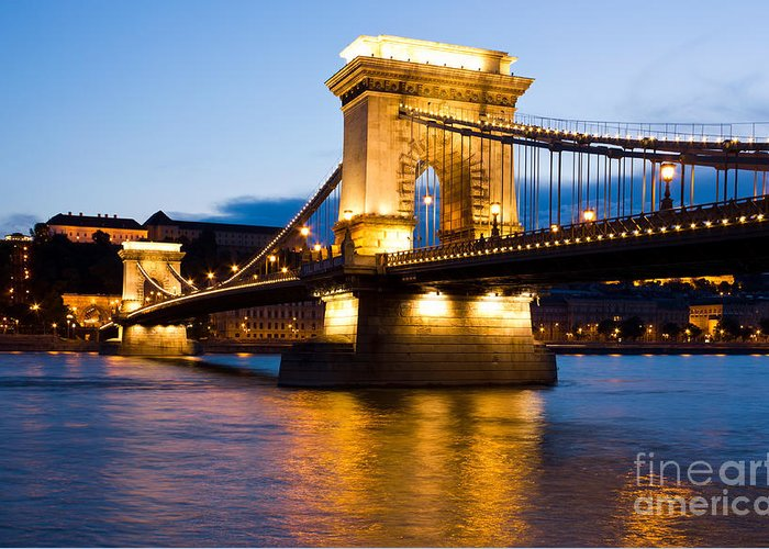 Sky Greeting Card featuring the photograph The Chain Bridge In Budapest Lit By The Street Lights by Kiril Stanchev