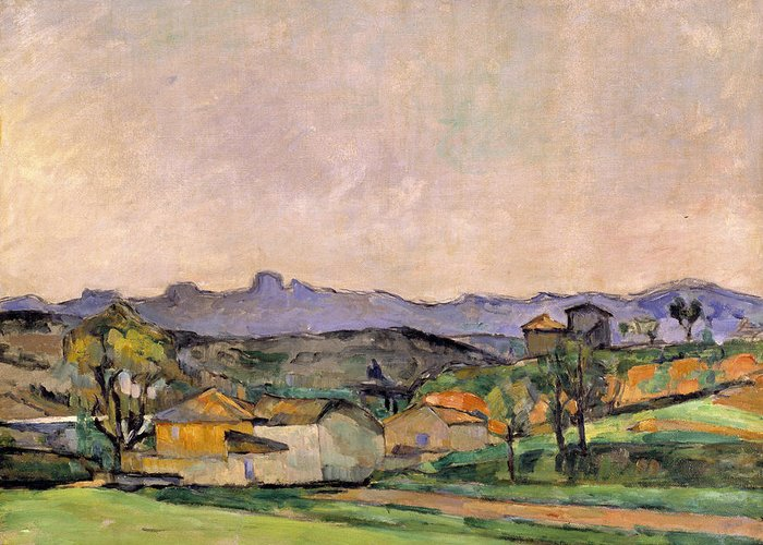 Post-impressionist Landscape Greeting Card featuring the painting The Chaine De Letoile With The Pilon Du by Paul Cezanne