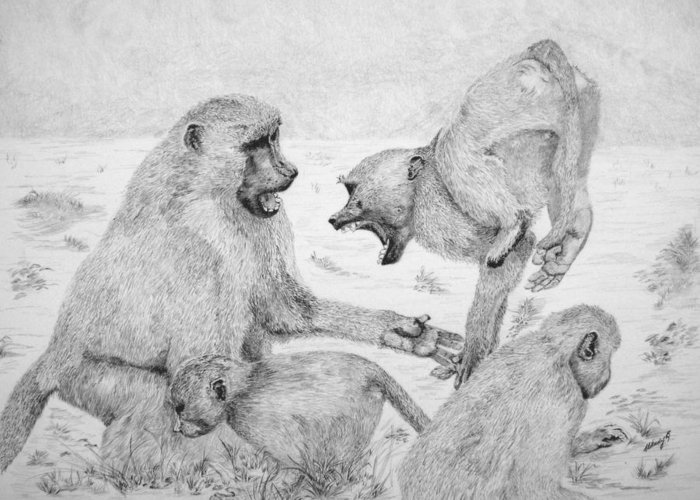 Monkey Greeting Card featuring the drawing The Challenge by Wendy Brunell