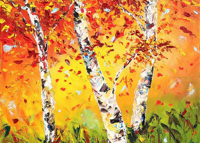 Autumn Greeting Card featuring the painting The Change by Meaghan Troup