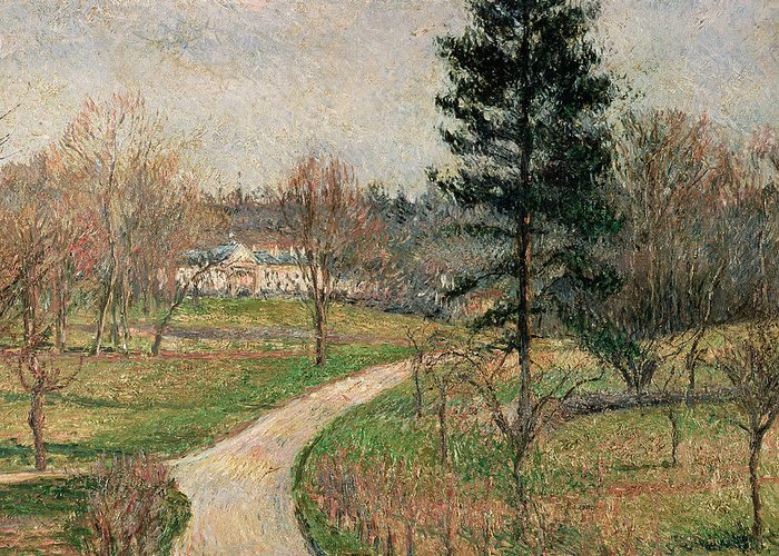 Impressionist Greeting Card featuring the painting The Chateau At Busagny by Camille Pissarro