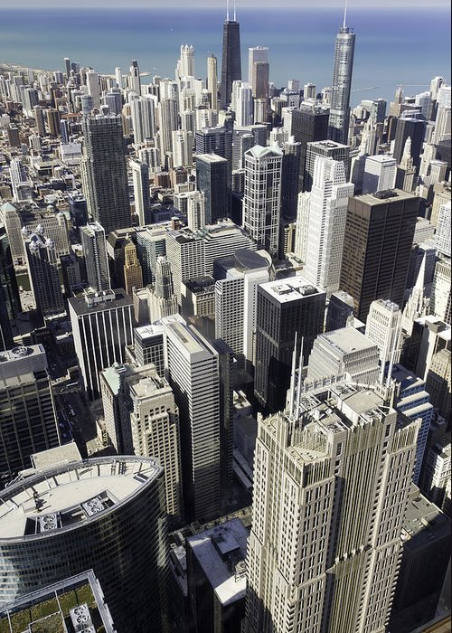 Photos Framed Prints Greeting Card featuring the photograph The Chicago Skyline From Sears Tower-004 by David Allen Pierson