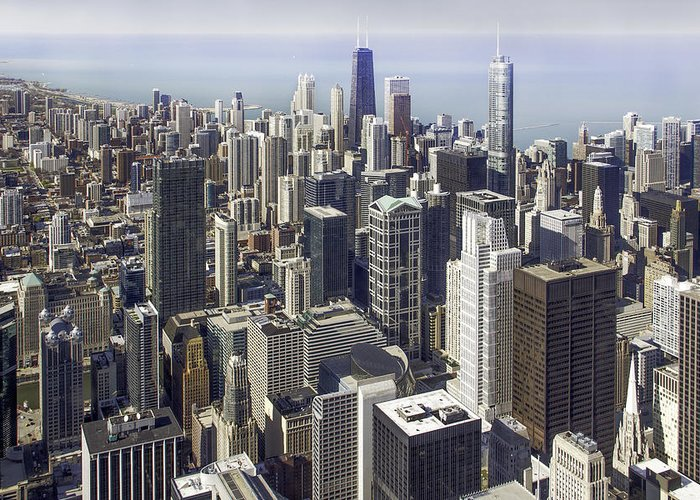 Photos Framed Prints Greeting Card featuring the photograph The Chicago Skyline From Sears Tower-013 by David Allen Pierson