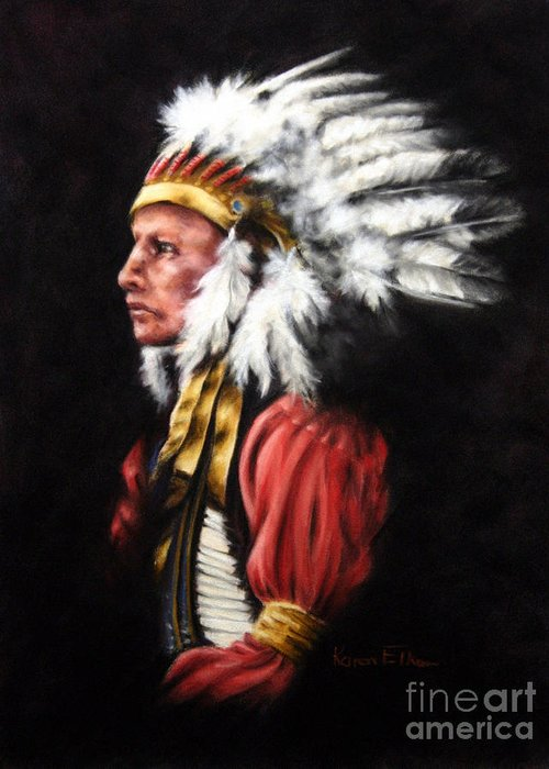 Native American Greeting Card featuring the pastel The Chief 2 by Karen Elkan