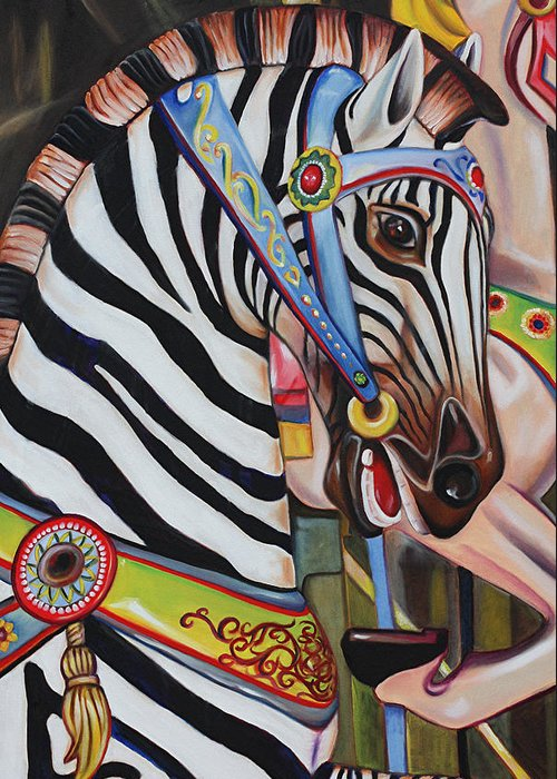 Merry-go-round Greeting Card featuring the painting The Child Whisperer by Eve Wheeler