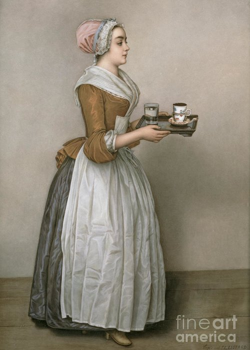 Servant Greeting Card featuring the painting The Chocolate Girl by Jean-Etienne Liotard
