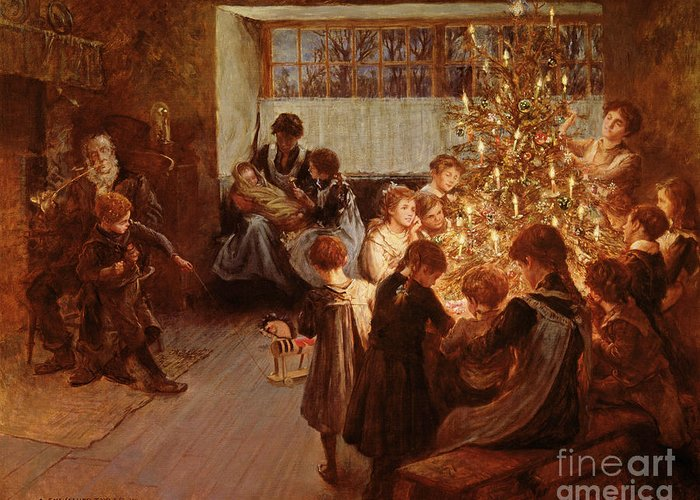 Victorian Sentiment Greeting Card featuring the painting The Christmas Tree by Albert Chevallier Tayler
