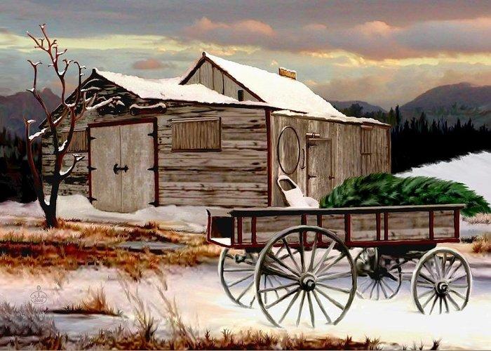 Wagon In A Barn Greeting Cards