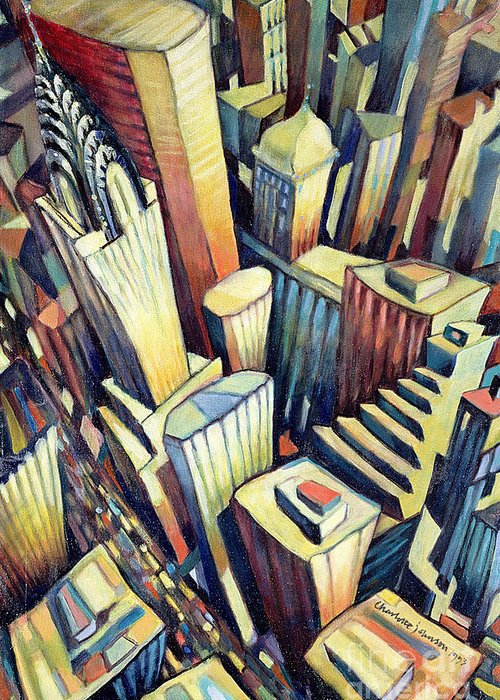 City Greeting Card featuring the painting The Chrysler Building by Charlotte Johnson Wahl