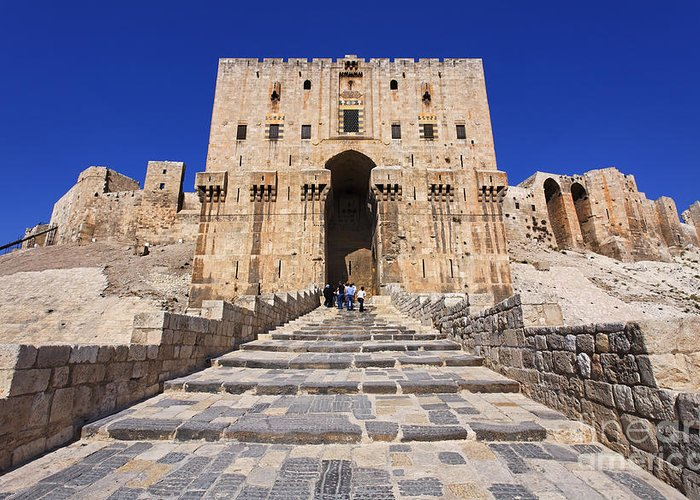 Citadel Greeting Card featuring the photograph The Citadel In Aleppo Syria by Robert Preston