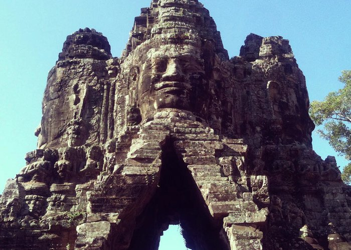 Arch Greeting Card featuring the photograph The City Gates At Angkor by Lasse Kristensen