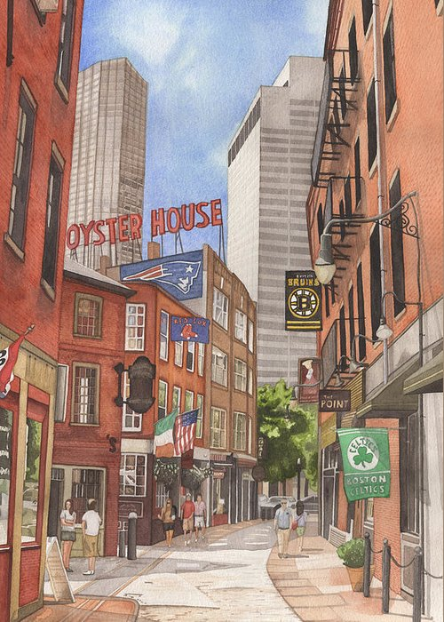 Boston Greeting Card featuring the painting The City On A Hill by Josh Marks