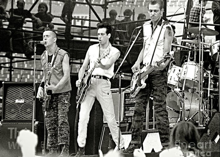 The Clash Greeting Card featuring the photograph The Clash 1982 by Chuck Spang
