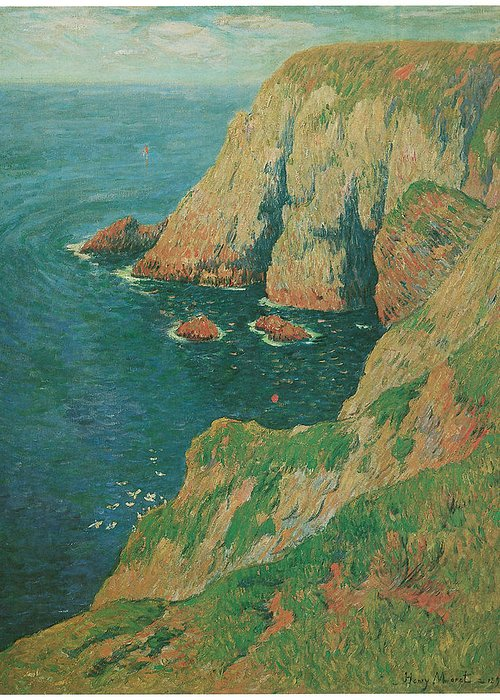 Henry Moret Greeting Card featuring the painting The Cliffs Of Stang Ile De Croix by Henry Moret