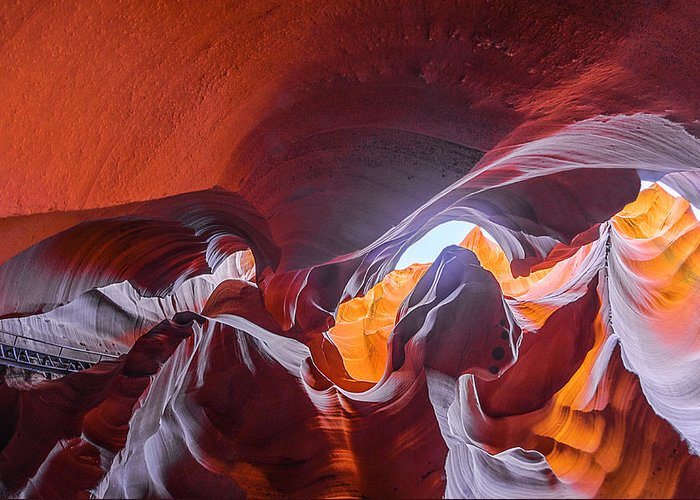 Antelope Canyon Greeting Card featuring the photograph The Climb by Jason Chu