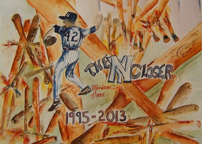 Baseball Greeting Card featuring the painting The Closer by Elaine Duras