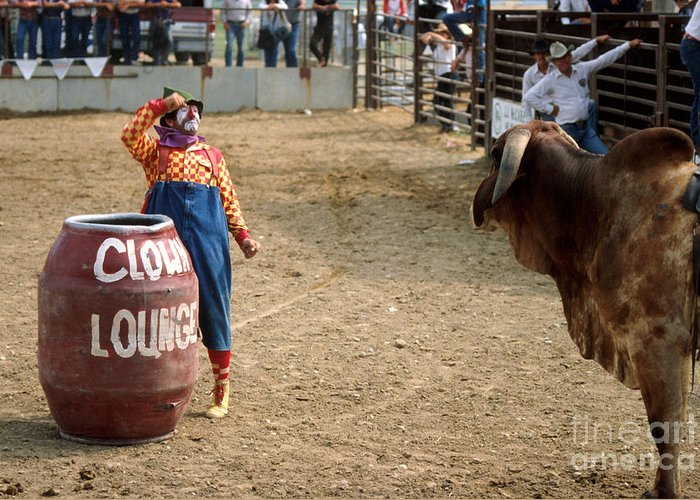 Rodeo Greeting Card featuring the photograph The Clown by Jerry McElroy