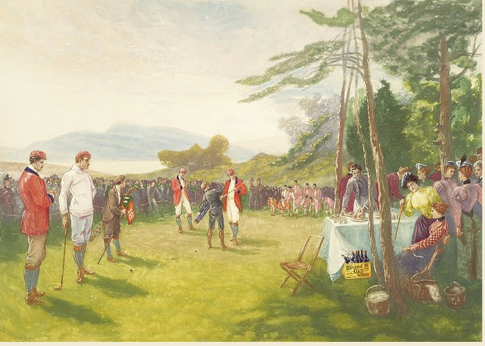 Golf Greeting Card featuring the painting The Clubs The Thing by Henry Sandham