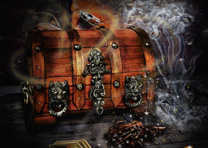 Coffer Greeting Card featuring the digital art The Coffer Of Spells by Alessandro Della Pietra