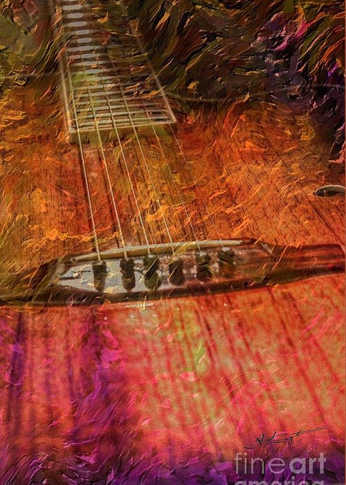 Acoustic Greeting Card featuring the photograph The Color Of Music Digital Guitar Art By Steven Langston by Steven Lebron Langston