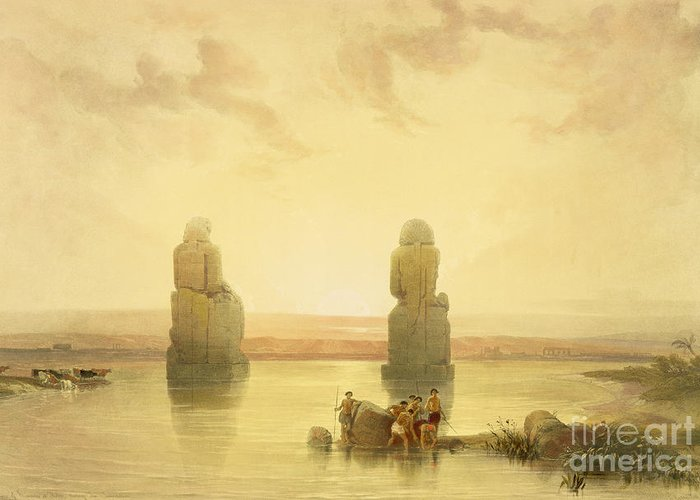 Colossal Greeting Card featuring the painting The Colossi Of Memnon by David Roberts