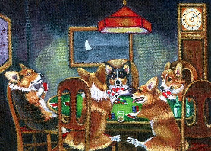 Pembroke Welsh Corgi Greeting Card featuring the painting The Corgi Poker Game by Lyn Cook