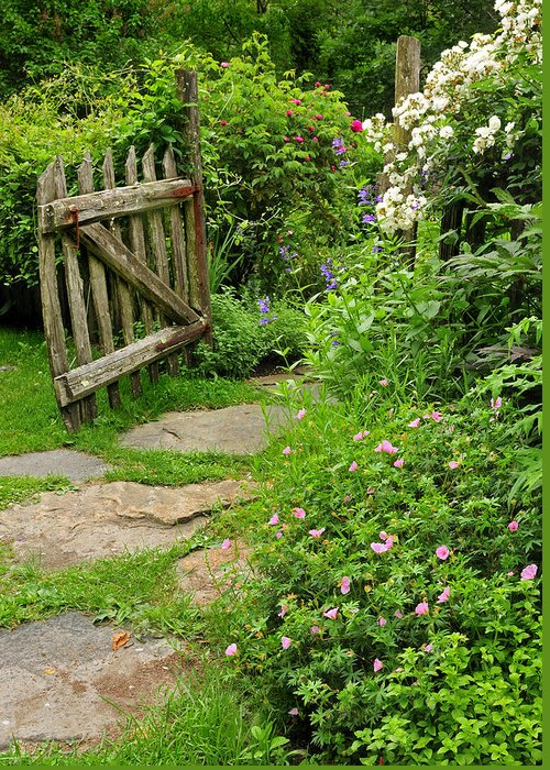 Cottage Greeting Card featuring the photograph The Cottage Garden Walkway by Expressive Landscapes Fine Art Photography by Thom